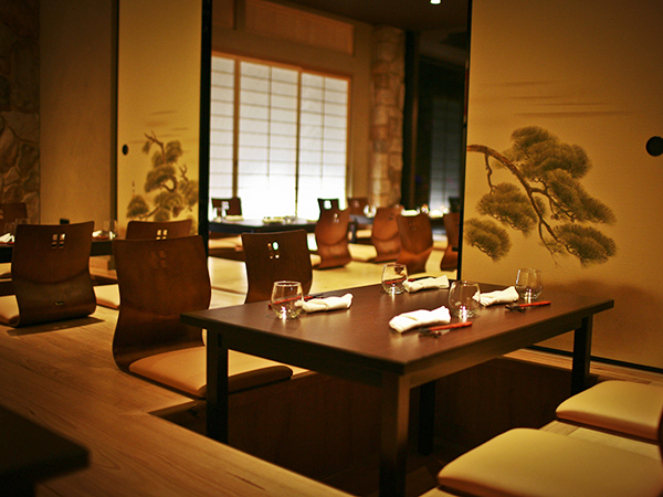 Traditional Japanese seating in the Ginza Miyako Japanese Restaurant in Adelaide SA